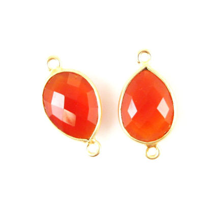 Wholesale Bezel Gemstone Links - 10x14mm Faceted Pear - Carnelian