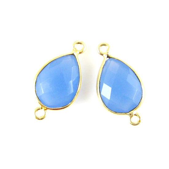 Wholesale  Bezel Gemstone Links- 10x14mm Faceted Pear - Blue Chalcedony