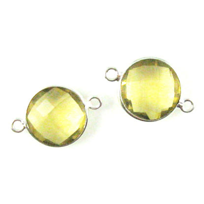 Wholesale Sterling Silver Lemon Quartz Coin Bezel Gemstone Connector Links, Wholesale Gemstone Charms and Pendants for Jewelry Making