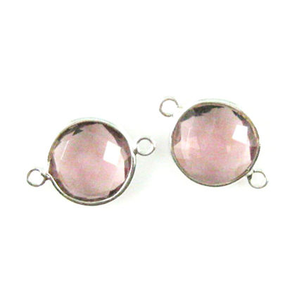 Wholesale Sterling Silver Pink Amethyst Quartz Coin Bezel Gemstone Connector Links, Wholesale Gemstone Charms and Pendants for Jewelry Making