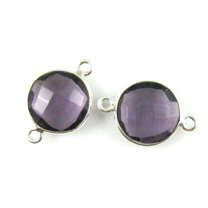 Wholesale Sterling Silver  Amethyst Quartz Coin Bezel Gemstone Connector Links, Wholesale Gemstone Charms and Pendants for Jewelry Making