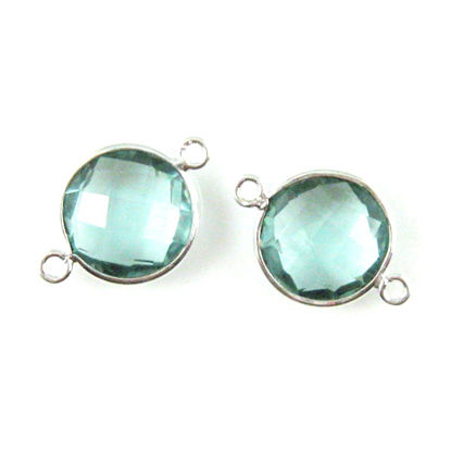 Wholesale Sterling Silver Aqua Quartz Coin Bezel Gemstone Connector Links, Wholesale Gemstone Charms and Pendants for Jewelry Making
