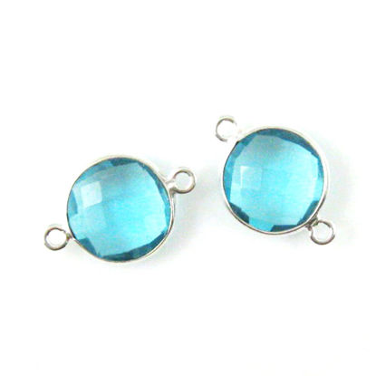 Wholesale Sterling Silver Blue Topaz Quartz Coin Bezel Gemstone Connector Links, Wholesale Gemstone Charms and Pendants for Jewelry Making