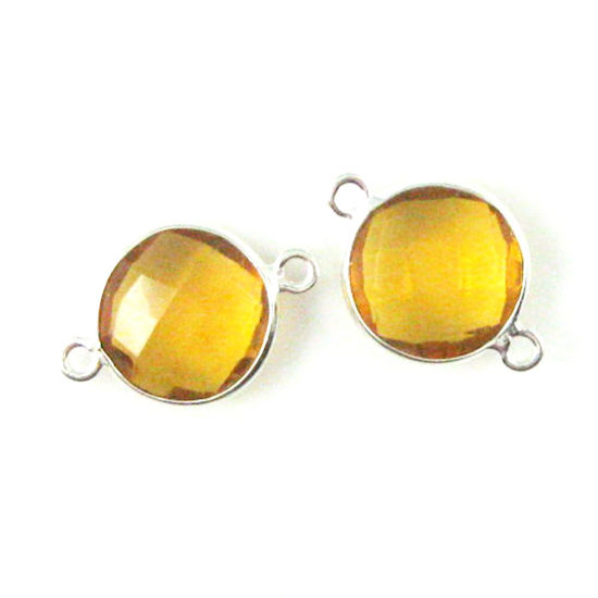 Wholesale Sterling Silver Citrine Quartz Coin Bezel Gemstone Connector Links, Wholesale Gemstone Charms and Pendants for Jewelry Making