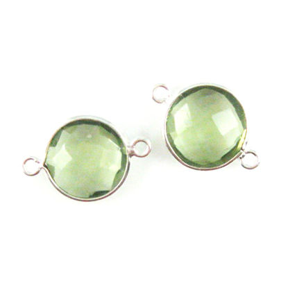 Wholesale Sterling Silver Green Amethyst Quartz Coin Bezel Gemstone Connector Links, Wholesale Gemstone Charms and Pendants for Jewelry Making
