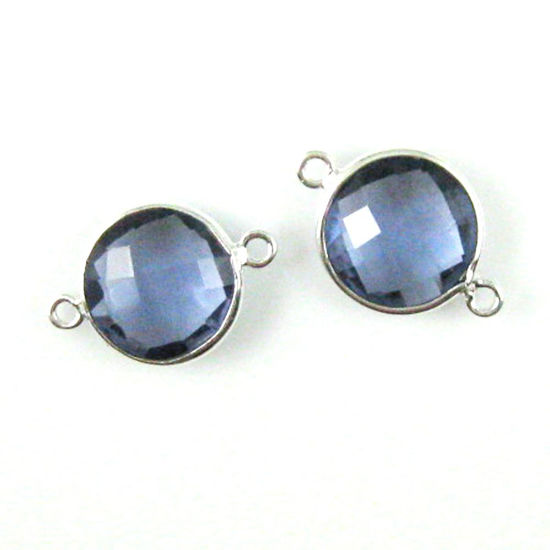 Wholesale Sterling Silver Iolite Quartz Coin Bezel Gemstone Connector Links, Wholesale Gemstone Charms and Pendants for Jewelry Making