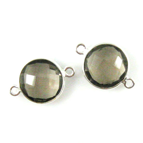 Wholesale Sterling Silver Smokey Quartz Coin Bezel Gemstone Connector Links, Wholesale Gemstone Charms and Pendants for Jewelry Making