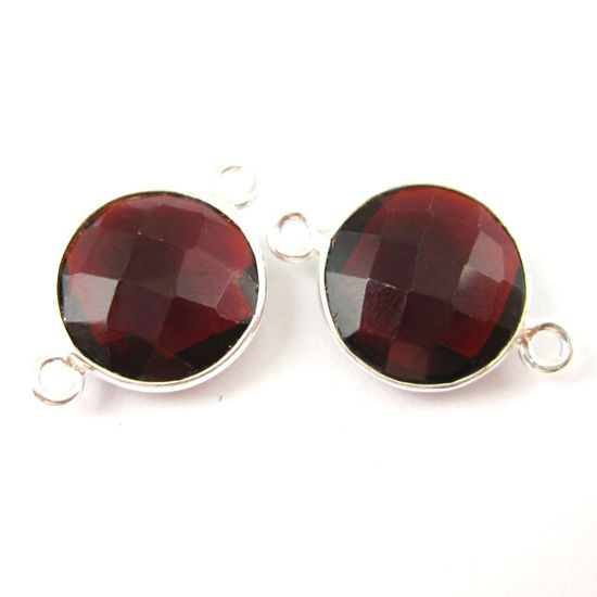 Wholesale Sterling Silver Garnet Quartz Coin Bezel Gemstone Connector Links, Wholesale Gemstone Charms and Pendants for Jewelry Making