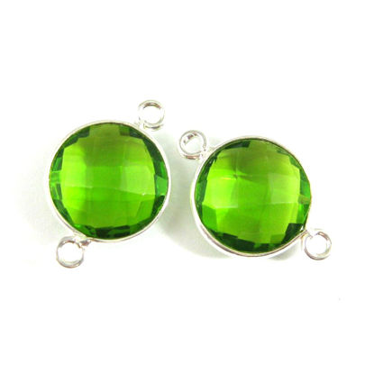 Wholesale Sterling Silver Peridot Quartz Coin Bezel Gemstone Connector Links, Wholesale Gemstone Charms and Pendants for Jewelry Making