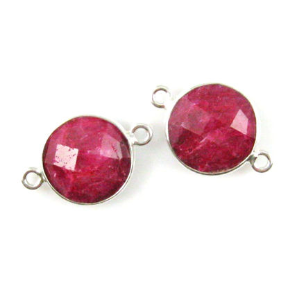 Wholesale Sterling Silver Dyed Ruby Coin Bezel Gemstone Connector Links, Wholesale Gemstone Charms and Pendants for Jewelry Making