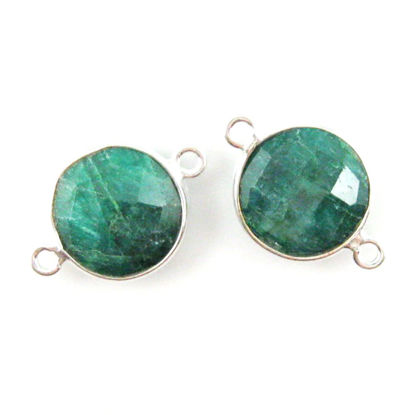 Wholesale Sterling Silver Dyed Emerald Coin Bezel Gemstone Connector Links, Wholesale Gemstone Charms and Pendants for Jewelry Making