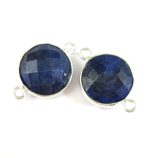 Wholesale Sterling Silver Blue Sapphire Dyed Coin Bezel Gemstone Connector Links, Wholesale Gemstone Charms and Pendants for Jewelry Making