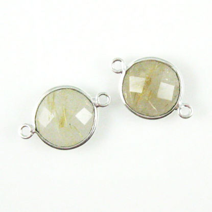 Wholesale Sterling Silver Gold Rutilated Quartz Coin Bezel Gemstone Connector Links, Wholesale Gemstone Charms and Pendants for Jewelry Making