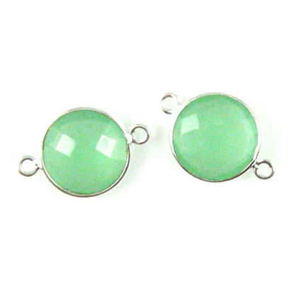 Wholesale Sterling Silver Prehnite Chalcedony Coin Bezel Gemstone Connector Links, Wholesale Gemstone Charms and Pendants for Jewelry Making
