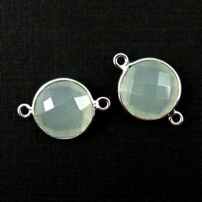 Wholesale Sterling Silver  Aqua Chalcedony Coin Bezel Gemstone Connector Links, Wholesale Gemstone Charms and Pendants for Jewelry Making