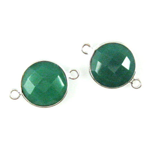 Wholesale Sterling Silver Green Onyx Coin Bezel Gemstone Connector Links, Wholesale Gemstone Charms and Pendants for Jewelry Making