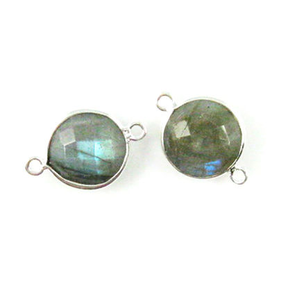 Wholesale Sterling Silver Labradorite Coin Bezel Gemstone Connector Links, Wholesale Gemstone Charms and Pendants for Jewelry Making