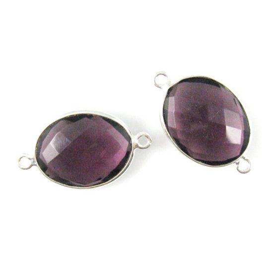 Wholesale Sterling Silver Bezel Gemstone Link - Faceted Oval Shape - Amethyst Quartz - February Birthstone