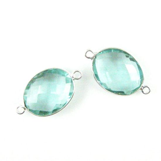Wholesale Sterling Silver Bezel Gemstone Link - Faceted Oval Shape - Aqua Quartz - March Birthstone