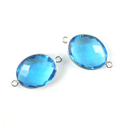 Wholesale Sterling Silver Bezel Gemstone Link - Faceted Oval Shape - Blue Topaz Quartz - December Birthstone