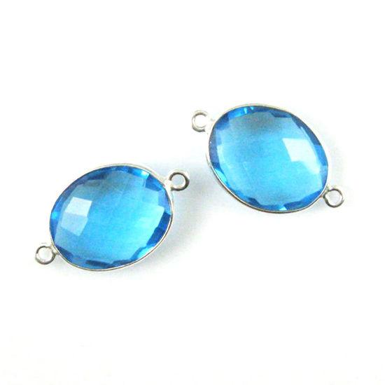 Wholesale Sterling Silver Bezel Gemstone Link - Faceted Oval Shape - Blue Topaz Quartz - December Birthstone