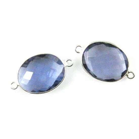 Wholesale Sterling Silver Bezel Gemstone Links - Faceted Oval Shape - Iolite Quartz