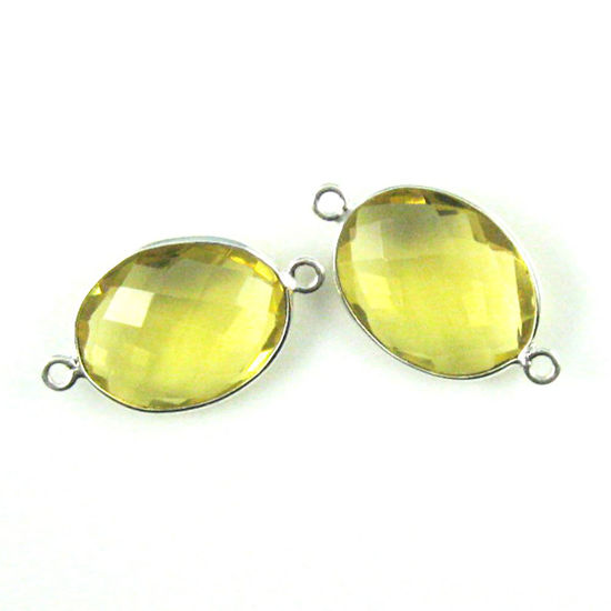 Wholesale Sterling Silver Bezel Gemstone Links - Faceted Oval Shape - Lemon Quartz