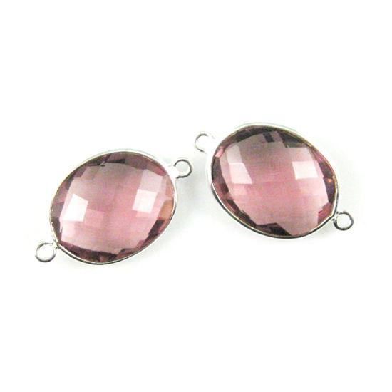 Wholesale Sterling Silver Bezel Gemstone Links - Faceted Oval Shape - Pink  Amethyst Quartz