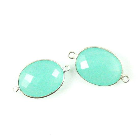 Wholesale Sterling Silver Bezel Gemstone Links - Faceted Oval Shape - Peru Chalcedony