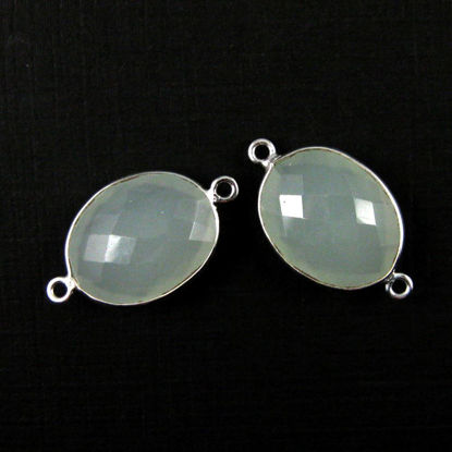 Wholesale Sterling Silver Bezel Gemstone Link - Faceted Oval Shape - Aqua Chalcedony