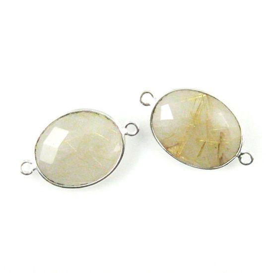 Wholesale Sterling Silver Bezel Gemstone Links - Faceted Oval Shape - Gold Rutilated Quartz