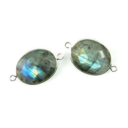 Wholesale Bezel Gemstone Links - Sterling Silver - Faceted Oval Shape - Labradorite