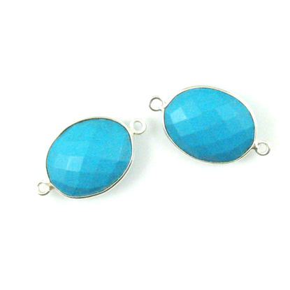 Wholesale Sterling Silver Bezel Gemstone Links - Faceted Oval Shape - Turquoise
