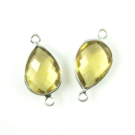 Wholesale Sterling Silver Bezel Gemstone Links - Faceted Pear Shape - Lemon Quartz