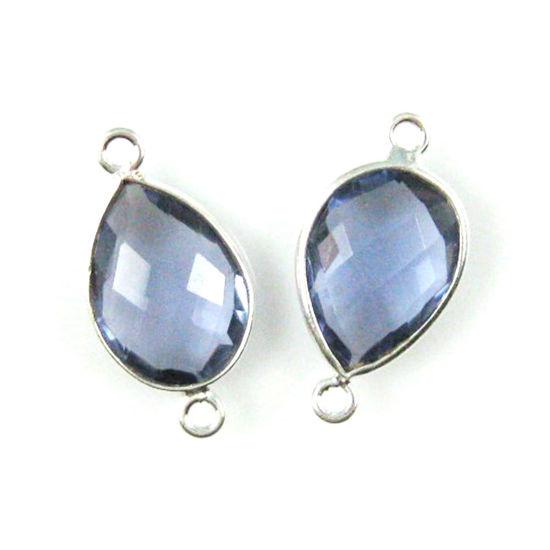 Wholesale Sterling Silver Bezel Gemstone Links - Faceted Pear Shape - Iolite Quartz