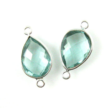 Wholesale Sterling Silver Bezel Gemstone Links - Faceted Pear Shape - Aqua Quartz - March Birthstone