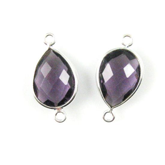 Wholesale Sterling Silver Bezel Gemstone Links - Faceted Pear Shape - Amethyst Quartz - February Birthstone