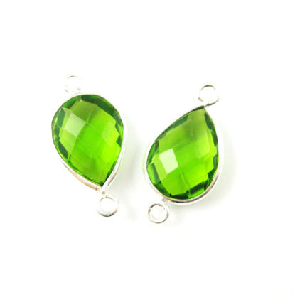 Wholesale Sterling Silver Bezel Gemstone Links - Faceted Pear Shape - Peridot Quartz - August Birthstone