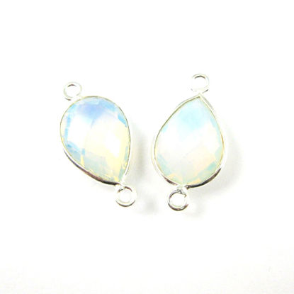 Wholesale Sterling Silver Bezel Gemstone Links - Faceted Pear Shape - Opalite Quartz - October Birthstone