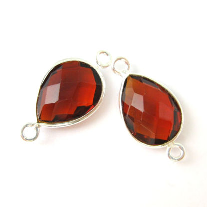 Wholesale Sterling Silver Bezel Gemstone Links - Faceted Pear Shape - Garnet Quartz - January Birthstone