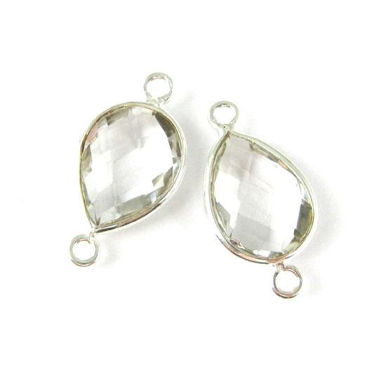 Wholesale Sterling Silver Bezel Gemstone Links - Faceted Pear Shape - Crystal Quartz - April Birthstone