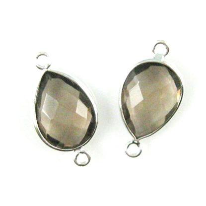 Wholesale Sterling Silver Bezel Gemstone Links - Faceted Pear Shape - Smoky Quartz