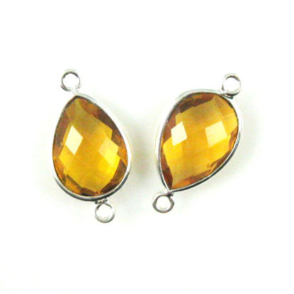 Wholesale Sterling Silver Bezel Gemstone Links - Faceted Pear Shape - Citrine Quartz - November Birthstone