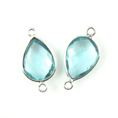 Wholesale Sterling Silver Bezel Gemstone Links - Faceted Pear Shape - Blue Topaz Quartz - December Birthstone