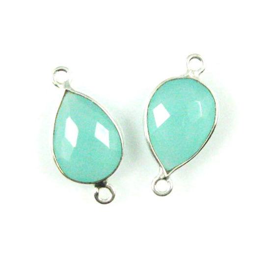 Wholesale Sterling Silver Bezel Gemstone Links - Faceted Pear Shape - Peru Chalcedony