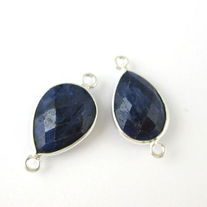 Wholesale Sterling Silver Bezel Gemstone Links - Faceted Pear Shape - Blue Sapphire Dyed - September Birthstone