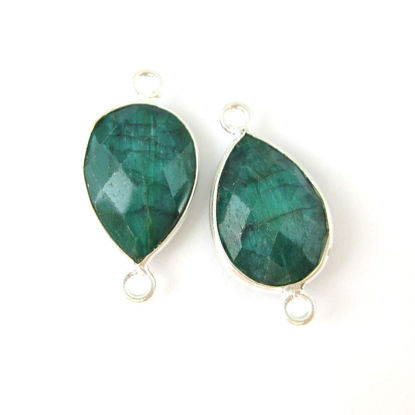 Wholesale Sterling Silver Bezel Gemstone Links - Faceted Pear Shape - Emerald Dyed - May Birthstone