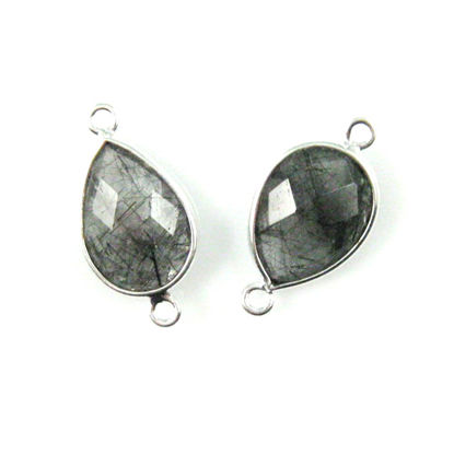 Wholesale Sterling Silver Bezel Gemstone Links - Faceted Pear Shape - Black Rutilated Quartz