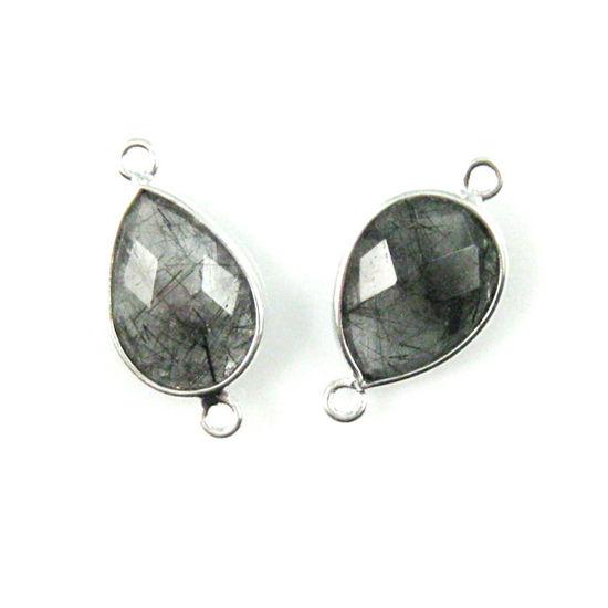 Wholesale Sterling Silver Bezel Gemstone Links - Faceted Pear Shape - Black Rutilated Quartz