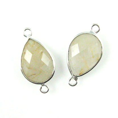 Wholesale Sterling Silver Bezel Gemstone Links - Faceted Pear Shape - Gold Rutilated Quartz